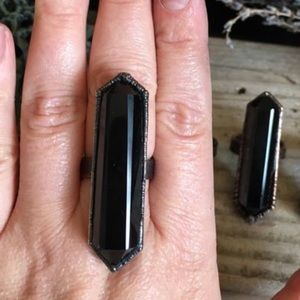 Black Obsidian Ring Size 6